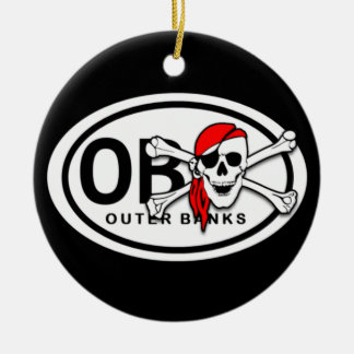 Personalized OBX Skull and Crossbones Pirate Ceramic Ornament