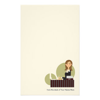 Personalized Office Girl Stationery