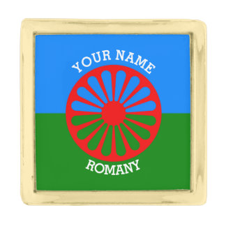Personalized Official Romany gypsy travellers flag Gold Finish Lapel Pin