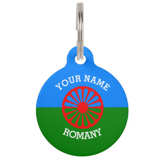 Personalized Official Romany gypsy travellers flag Pet Name Tag