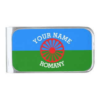 Personalized Official Romany gypsy travellers flag Silver Finish Money Clip