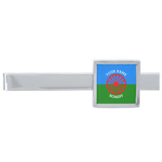 Personalized Official Romany gypsy travellers flag Silver Finish Tie Clip