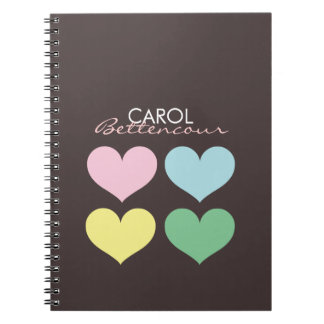 Personalized Oh So Lovely Modern Hearts Spiral Notebook