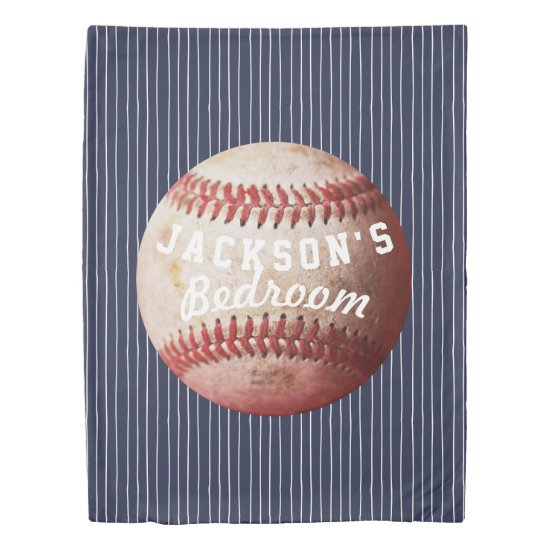 Personalized Old Baseball Stripes Custom Color Duvet Cover