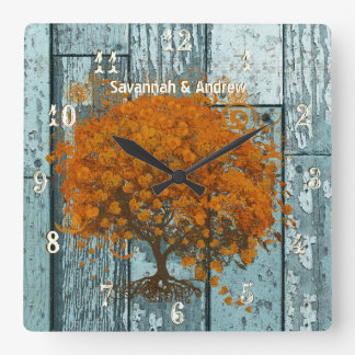 Personalized Old Rustic Aqua Wood Coral Tree Square Wall Clock