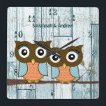 """Personalized Old Rustic Aqua Wood Love Bird Owls Square Wall Clock<br><div class=""""desc"""">Personalized Old Wood Peeling Paint Country Chic Musical Note Love Bird Owls Clock Custom Wall Clock - Your Name - or change to read whatever you like. To change color click customize then edit. Use the last tool on the drop down - the little color box - click it to...</div>"""