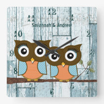 Personalized Old Rustic Aqua Wood Love Bird Owls Square Wall Clock