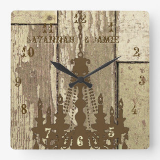 Personalized Old Rustic Wood Look Chandelier Square Wall Clock