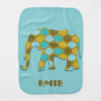 Personalized Olive Green Sky Blue Elephant Burp Cloth