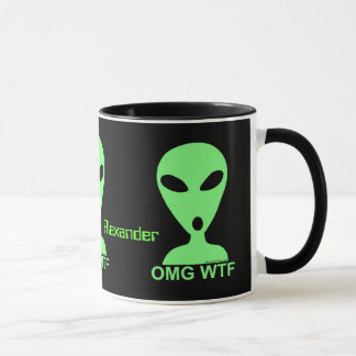 Personalized OMG WTF Geeky Alien Coffee Cup