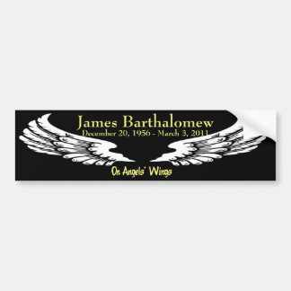 Personalized On Angels Wings Memorial Car Bumper Sticker