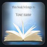 """Personalized Open Book Design Bookplate Sticker<br><div class=""""desc"""">Personalized Open Book Design Bookplate Sticker with customizable text.</div>"""