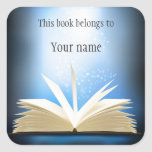 "Personalized Open Book Design Bookplate Sticker<br><div class=""desc"">Personalized Open Book Design Bookplate Sticker with customizable text.</div>"