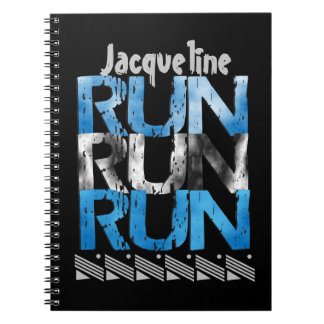 Personalized Option Run Run Run - Runner Themed Spiral Note Books