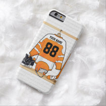 Personalized Orange and White Ice Hockey Jersey Barely There iPhone 6 Case