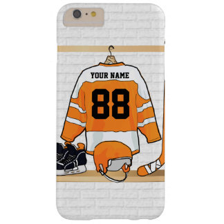 Personalized Orange and White Ice Hockey Jersey Barely There iPhone 6 Plus Case