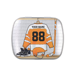 Personalized Orange and White Ice Hockey Jersey Candy Tin