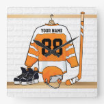 Personalized Orange and White Ice Hockey Jersey Square Wall Clocks