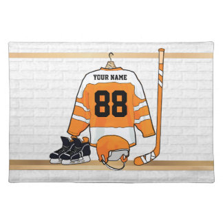 Personalized Orange and White Ice Hockey Jersey Cloth Placemat