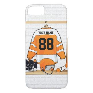 Personalized Orange and White Ice Hockey Jersey iPhone 7 Case