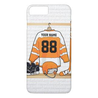 Personalized Orange and White Ice Hockey Jersey iPhone 7 Plus Case
