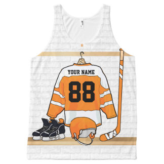 Personalized Orange and White Ice Hockey Jersey All-Over Print Tank Top