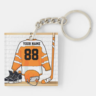 Personalized Orange and White Ice Hockey Jersey Keychain