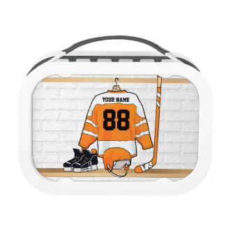 Personalized Orange and White Ice Hockey Jersey Lunch Box