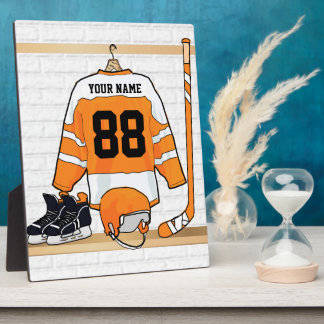 Personalized Orange and White Ice Hockey Jersey Plaque