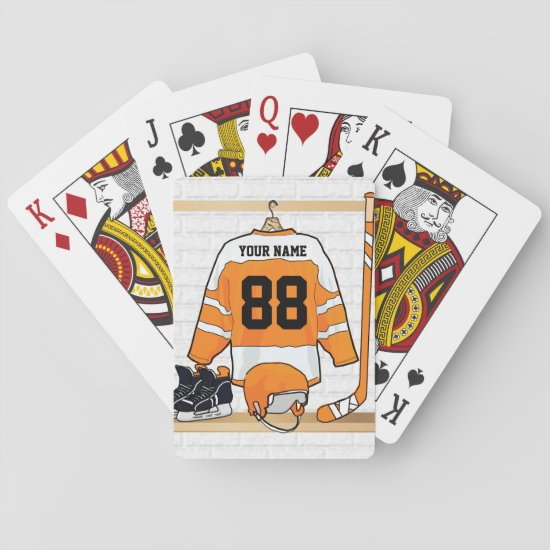 Personalized Orange and White Ice Hockey Jersey Playing Cards