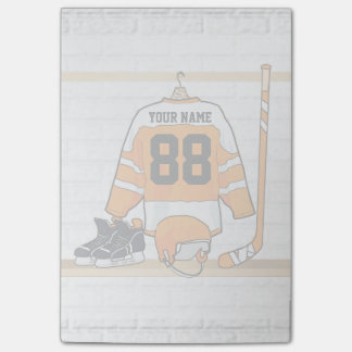 Personalized Orange and White Ice Hockey Jersey Post-it® Notes