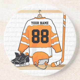 Personalized Orange and White Ice Hockey Jersey Sandstone Coaster