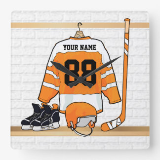 Personalized Orange and White Ice Hockey Jersey Square Wall Clock