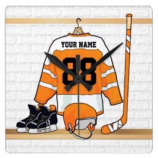 Personalized Orange and White Ice Hockey Jersey