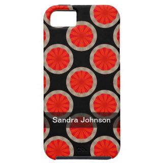 Personalized orange black circles pattern iPhone SE/5/5s case