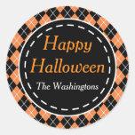 Personalized Orange Black Happy Halloween Stickers
