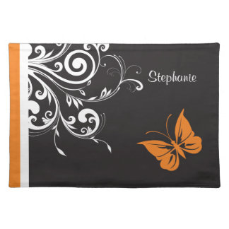 Personalized Orange Black White Butterfly Flourish Cloth Placemat