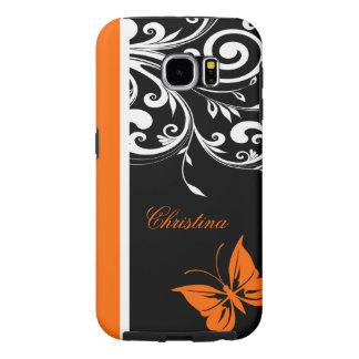 Personalized Orange Black white Butterfly Flourish Samsung Galaxy S6 Case