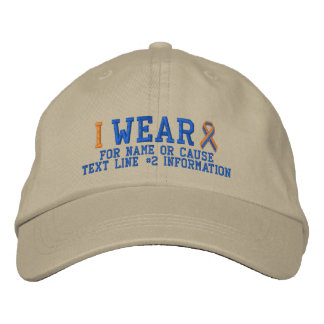 Personalized Orange Blue Ribbon Awareness Embroidered Hat