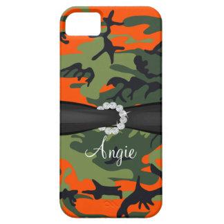 Personalized Orange Camo Diamond Ribbon iPhone iPhone SE/5/5s Case