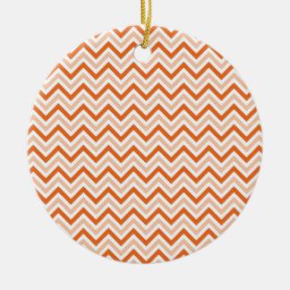 Personalized orange-chevron ceramic ornament