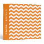 Personalized Orange Chevron Recipe Binder