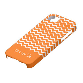 Personalized orange chevron zigzag pattern zig zag iPhone SE/5/5s case