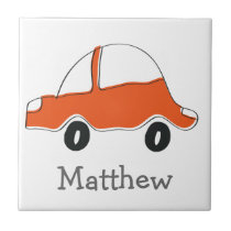 Personalized orange doodle car baby shower, kids ceramic tile