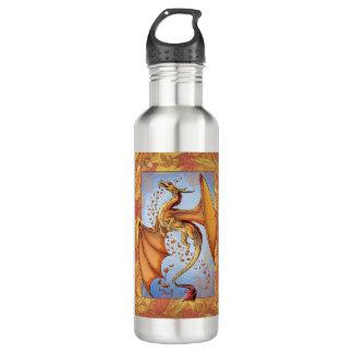 Personalized Orange Dragon Autumn Fantasy Art Stainless Steel Water Bottle