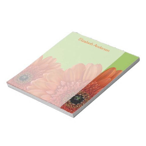 Personalized Orange Gerbera Daisy Green Notepad