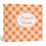 Personalized Orange Gingham Recipe Binder