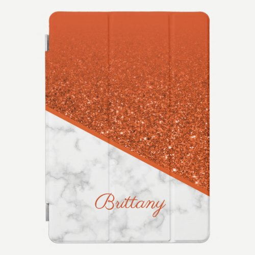 Personalized Orange Glitter - White Marble iPad Pro Cover