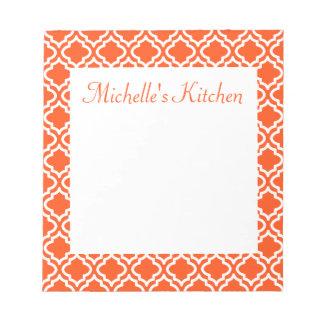 Personalized Orange Kitchen Notepad