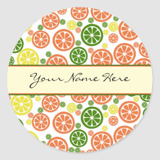 Personalized Orange Lemon and Lime Slices Classic Round Sticker